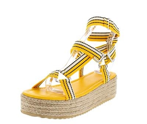 Yellow Fabric Platform Sandals