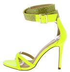 Neon Yellow Patent Ankle Strap Heels
