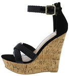 Black Cross Strap Cork Wedges