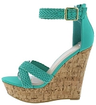 Teal Cross Strap Cork Wedges