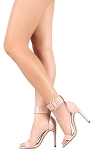 Nude Ankle Strap Stiletto Heels