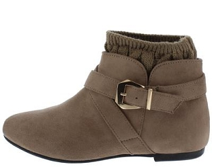 Brown MicroFiber Ankle Boots